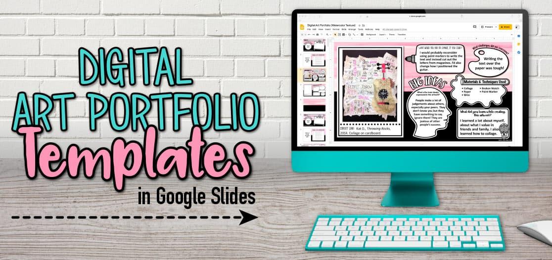 digital art portfolio templates on google slides for teachers