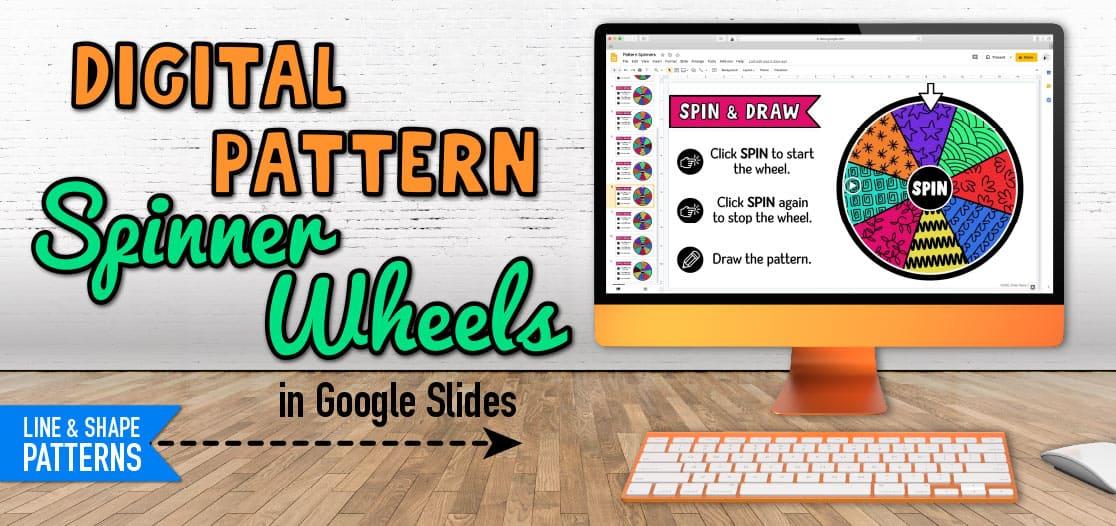 digital spinner wheels of line and shape patterns in google slides