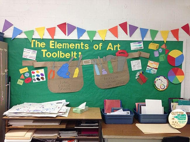 elements of art, bulletin board idea, art room, line, color, shape, texture, value, form, space