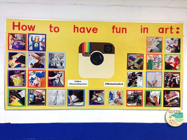 instagram, art, bulletin board, art room bulletin board, art work, display student art