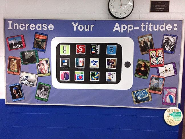 instagram, art, bulletin board, art room bulletin board, art work, display student art, iPad, technology, STEM, STEAM
