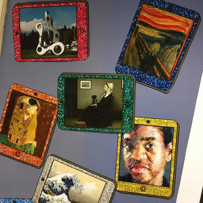 ipad, art history, artwork, art room bulletin board
