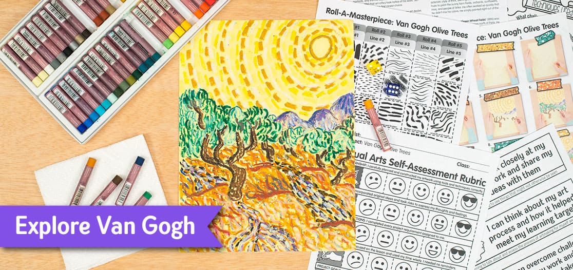 van gogh olive trees art lesson for kids