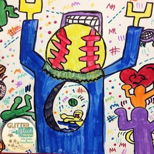 Keith haring figure with a baseball shaped head and lego hands