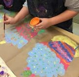 students painting wayne thiebaud cupcakes with pastel colors