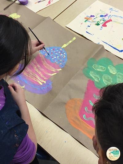 second grade painting wayne thiebaud cupcakes