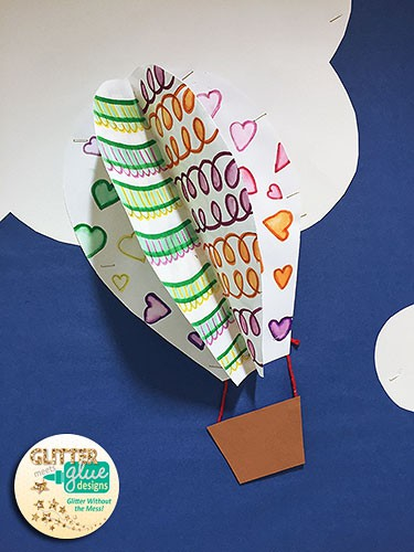 drawing game, painting project, hot air balloon, bulletin board idea, design, back to school