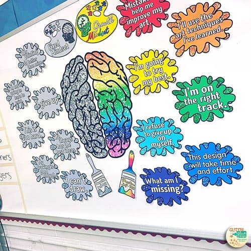 growth mindset posters for art teachers with a paint splatter theme