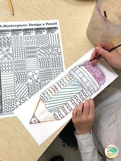 student drawing a pencil for back to school bulletin board