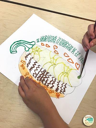 pumpkin art painting by first grade