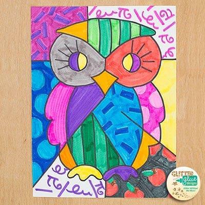 romero britto owl, pop art, pop art project, art history, art project, lesson plan, art sub plan, art lesson ideas