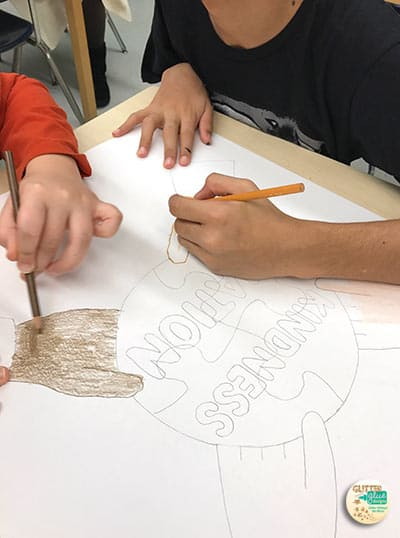 students working on a black history month activity