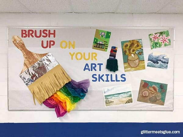 Art room bulletin board ideas for art teachers in the art room | Brush up on your art skills!