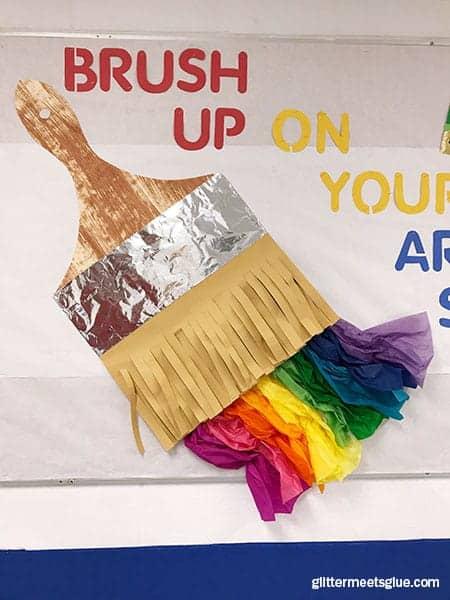 paintbrush, art room, display, elementary art, bulletin board ideas