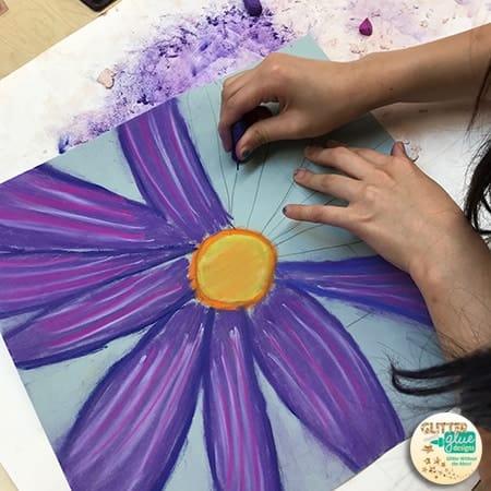 4th grade flower drawings sintered by Georgia O'Keeffe
