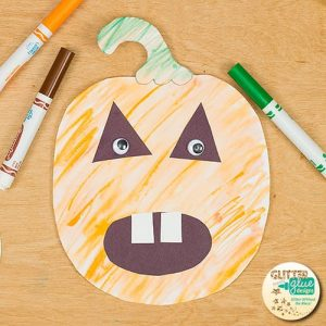 A cute pumpkin art project for elementary teachers using classroom materials.