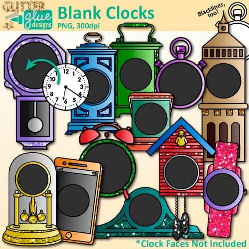 12 blank clock clipart graphics to overlap on clock faces for measurement and telling time.