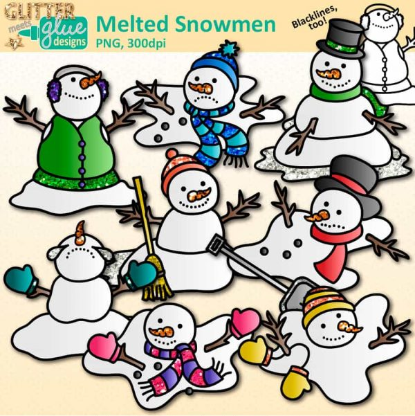 8 melted snowmen clipart graphics wearing vests, scarves, mittens, and hats.