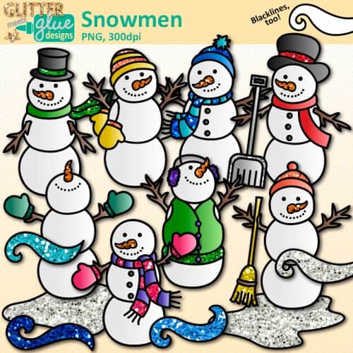 8 snowmen clipart graphics wearing vests, scarves, mittens, and hats with wind and ice.