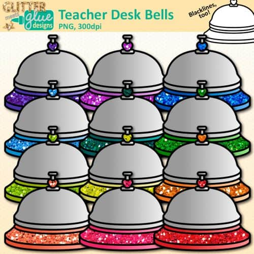 12 glitter rainbow teacher desk bell clipart graphics in rainbow colors for personal & commercial use.