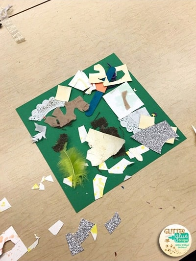 Scrap art project with paper and doilies for a kindergarten collage project.