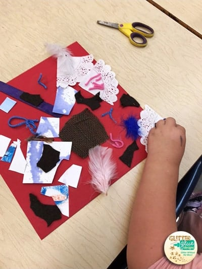 Kindergarten collage projects using scrap materials.