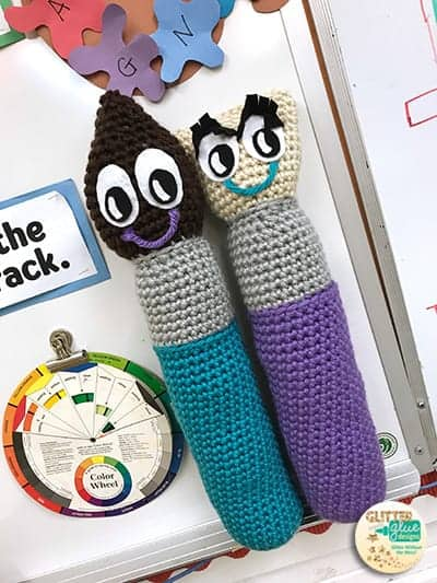 Mr Brush and Mrs. Brush crochet pattern class mascots for classroom behavior management.