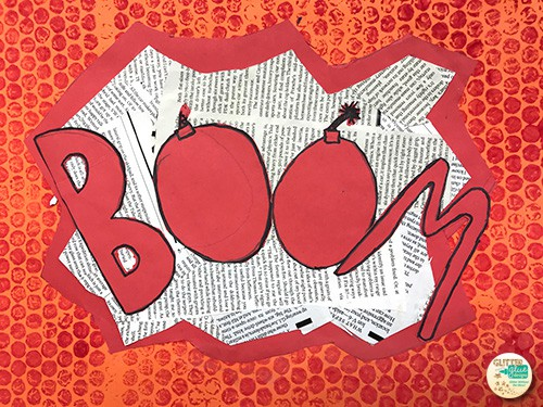 onomatopoeia art project with the word boom in red letters with cartoon bombs