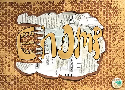 A tan word chomp being eaten.