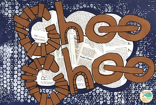 choo-choo train onomatopoeia word in brown letters on a blue and white background of benday dots