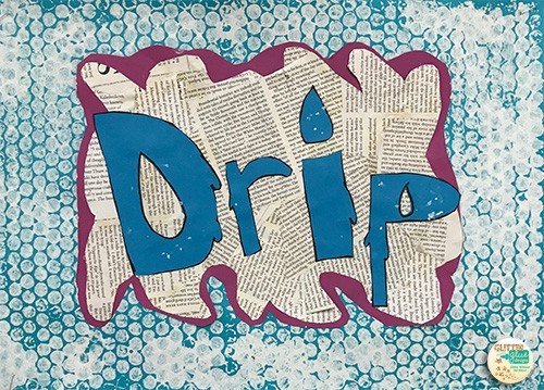 The word drip in blue letters over a water background.