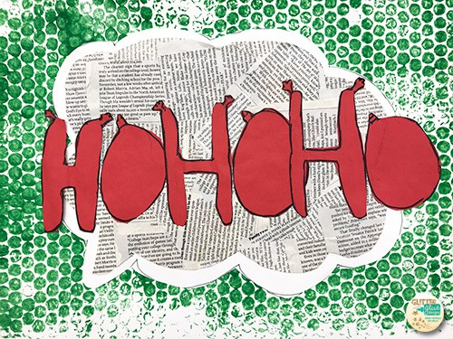 christmas inspired onomatopoeia art project with red letters and green background