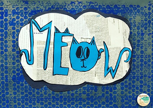 the word meow in blue over a cloud speech bubble in white