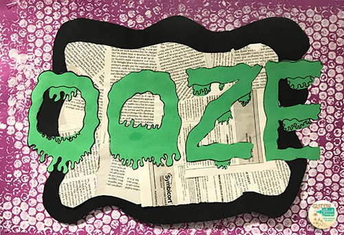 the word ooze in green slime over a violet benday dot background