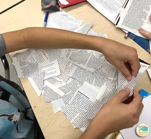 students ripping up magazines and newspapers for the black and white text
