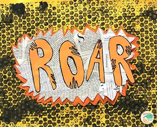 the word roar in orange letters being scratched out