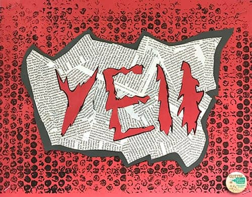 the word yell in red letters on a gray, white, and red background