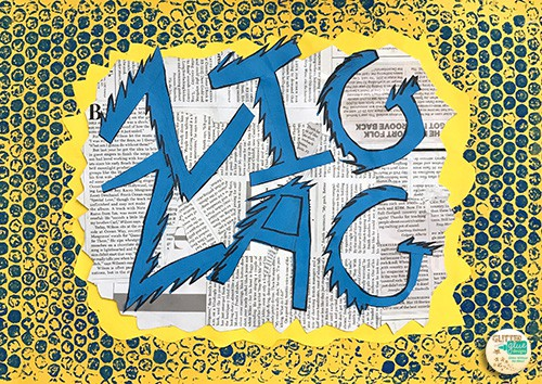 the word zigzag in blue letters over a yellow speech bubble