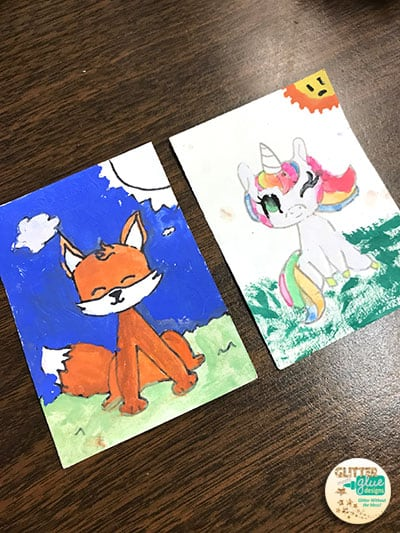 cute fox and rainbow unicorn ATCs