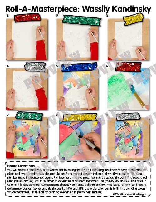 step by step directions to play kandinsky roll-a-dice game