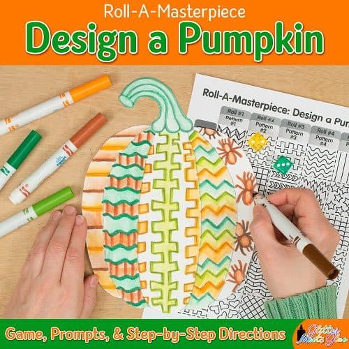 halloween pumpkin drawing roll-a-dice game for kids