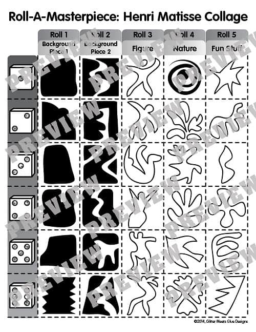 henri matisse roll a dice game for kids