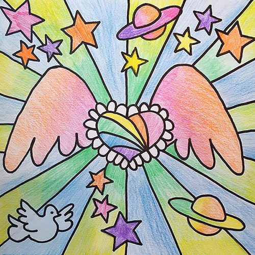 peter max heart with wings, stars, dove, and planets