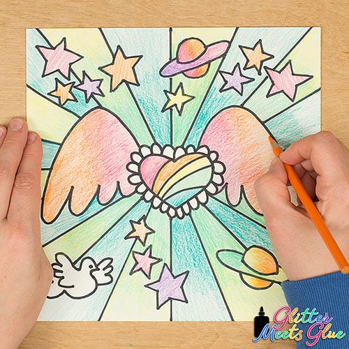 peter max inspired art lesson with planets, stars, doves, and a flying heart with wings