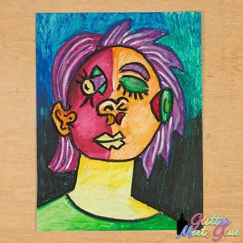 cubist picasso portrait art lesson
