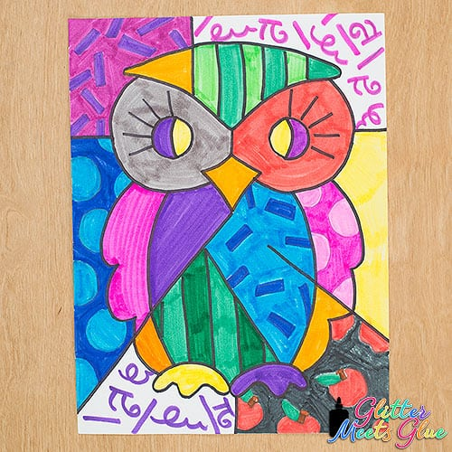 pop art romero britto inspired owl drawing