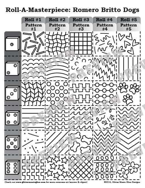 romero britto roll-a-dice game for art teachers
