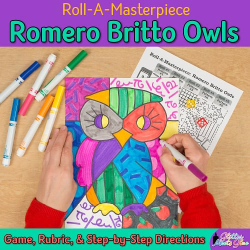 romero britto owl game for art history lessons