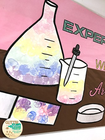experiment with art steam hallway bulletin board with bubble painting