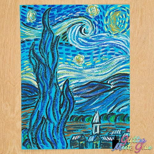 oil pastel drawing inspired by starry night